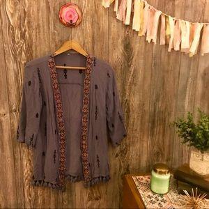 {xhilaration} periwinkle geo embroidered kimono s